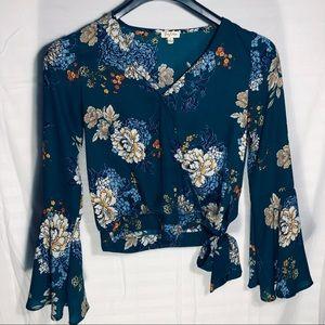 Tops - Dillard's Wrap Tie Blouse in green floral